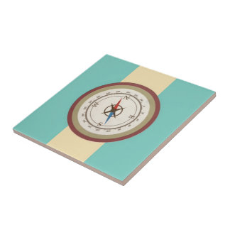 Nautical Compass On Vintage Retro Blue Cream Brown Tile