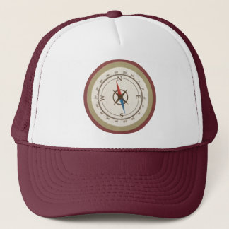 Nautical Compass On Vintage Retro Blue Cream Brown Trucker Hat