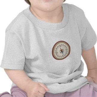 Nautical Compass On Vintage Retro Blue Cream Brown Shirt