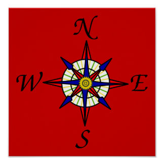 Nautical Compass Poster
