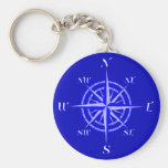 Nautical Compass Rose Basic Round Button Key Ring