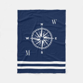 Nautical Compass Rose Custom Monograms Fleece Blanket