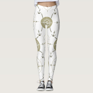 Nautical compass taupe white ocean leggings