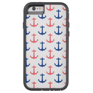 Nautical Coral and Navy Blue Anchors Pattern Tough Xtreme iPhone 6 Case