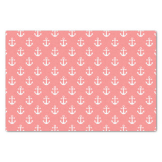 Nautical Coral and White Anchor Pattern Tissue Paper