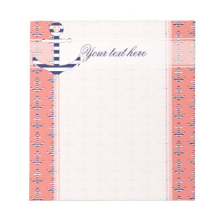 Nautical coral pink pattern notepad