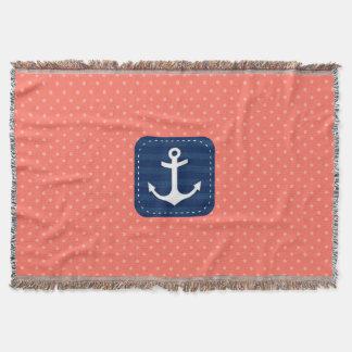 Nautical Coral Polka Dot Pattern Navy Blue Anchor