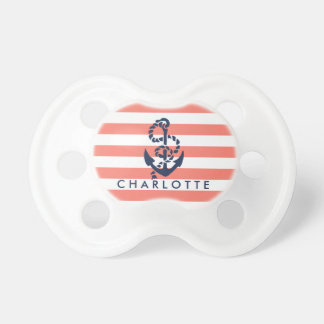 Nautical Coral Stripe Anchor Personalized Baby Pacifiers