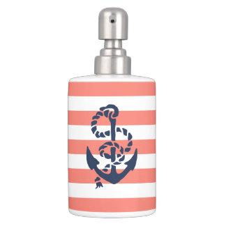 Nautical Coral Stripe & Navy Anchor Bathroom Set