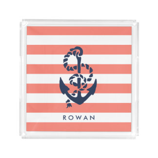 Nautical Coral Stripe & Navy Anchor Personalized