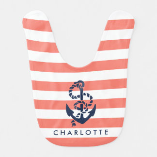 Nautical Coral Stripe Navy Anchor Personalized Baby Bibs