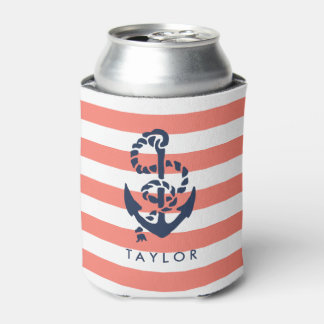 Nautical Coral Stripe & Navy Anchor Personalized Can Cooler