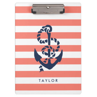 Nautical Coral Stripe & Navy Anchor Personalized Clipboard