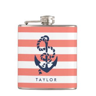 Nautical Coral Stripe & Navy Anchor Personalized Flask