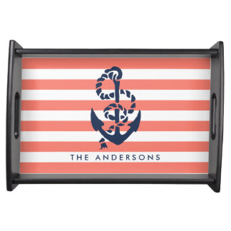 Nautical Coral Stripe & Navy Anchor Personalized Serving Tray