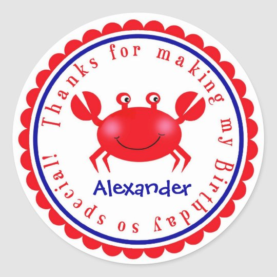 Nautical Crab Birthday Stickers