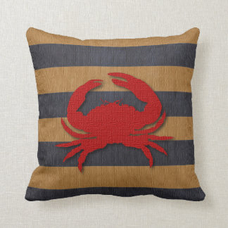 Nautical Crab & Faux Burlap Stripes Cushion