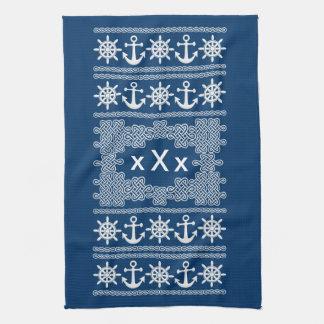 Nautical custom monogram kitchen towel