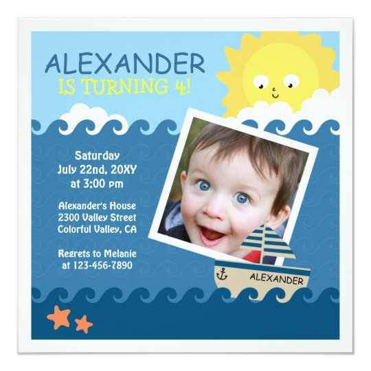 Nautical Custom Photo Kids Birthday Party Invite