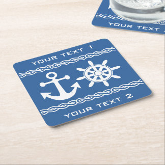 Nautical custom text & color coasters