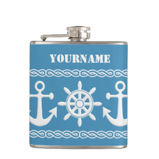 Nautical custom text & color flasks