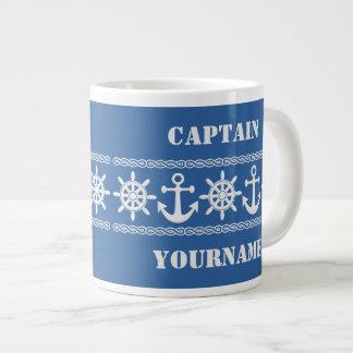 Nautical custom text & color mugs jumbo mug
