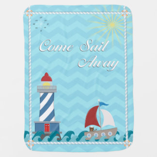 Nautical *Customisable* Sail Away *Daytime* Baby Blanket