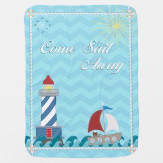 Nautical *Customisable* Sail Away *Daytime* Baby Blankets