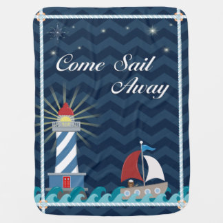 Nautical *Customisable* Sail Away *Midnight* Buggy Blanket