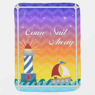 Nautical *Customisable* Sail Away *Sunset* Baby Blanket