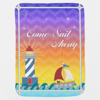 Nautical *Customisable* Sail Away *Sunset* Pramblankets