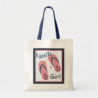 Nautical Cute Flip Flop Nauti Girl Design Tote Bag