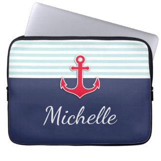 Nautical Dark Blue Red Design Custom Name Laptop Sleeve