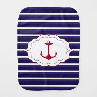 Nautical Dark Blue White Stripes Red Anchor Burp Cloth