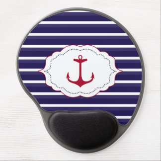 Nautical Dark Blue White Stripes Red Anchor Gel Mouse Mat