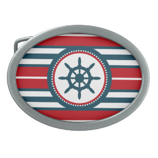 Nautical design oval belt buckle