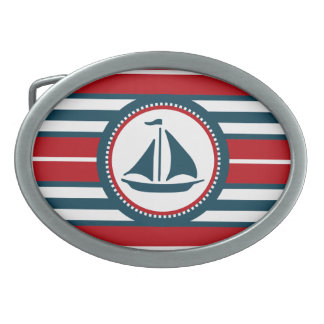 Nautical design oval belt buckles