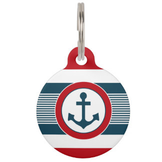 Nautical design pet name tag