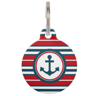 Nautical design pet tag