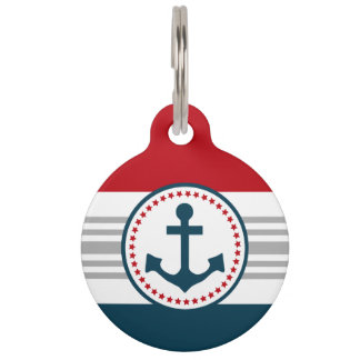 Nautical design pet tag