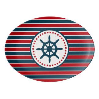 Nautical design porcelain serving platter