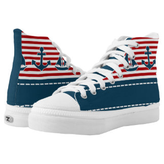 Nautical design printed shoes