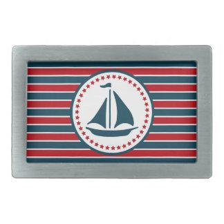 Nautical design rectangular belt buckle