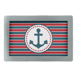 Nautical design rectangular belt buckle