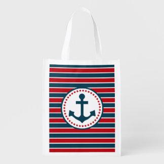Nautical design reusable grocery bag