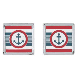 Nautical design silver finish cufflinks