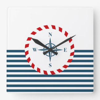 Nautical design square wall clock