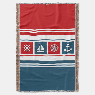 Nautical design throw blanket