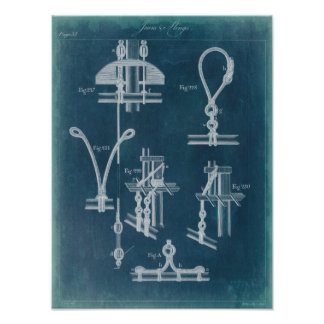 Nautical Detail Blueprint IV Poster