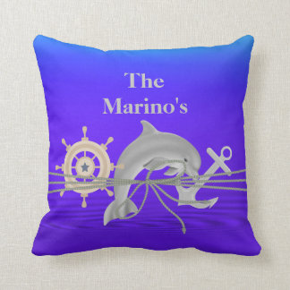 NAUTICAL Dolphin, Anchor, Ship  Custom Pillow Gift